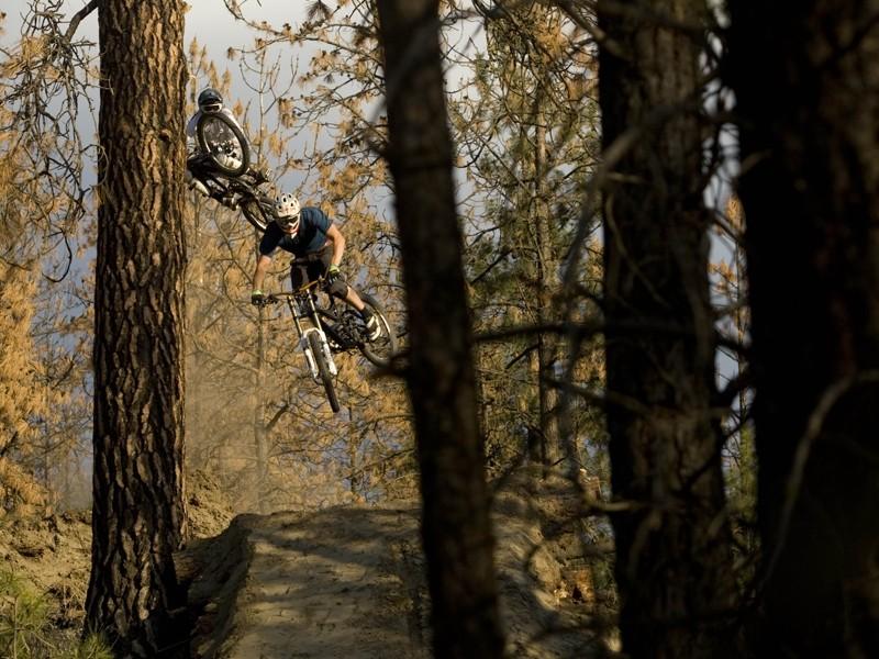 Kurt Sorge and Matt Hunter filming in Kamloops, British Columbia for the new bike movie Follow Me