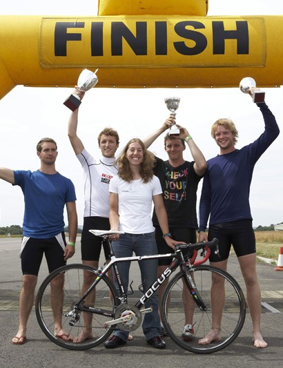 Last year's winners, The Iron Horses, seen here receiving their trophies from Nicole Cooke, will be back to defend their title