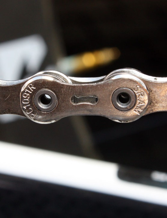 SRAM's new PC-1091R chain has made its rounds through the peloton now with all sponsored teams appearing to have replaced the old PC-1090R model with this one. Additional chamfering supposedly makes for quieter operation and smoother shifting than before
