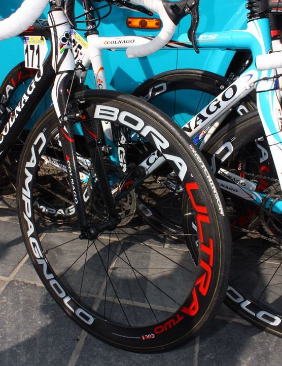 William Bonnet (BBox-Bouygues Telecom) may have been using his Paris-Roubaix bike for Scheldeprijs but opted for proper road wheels and tyres to better suit the day's tarmac