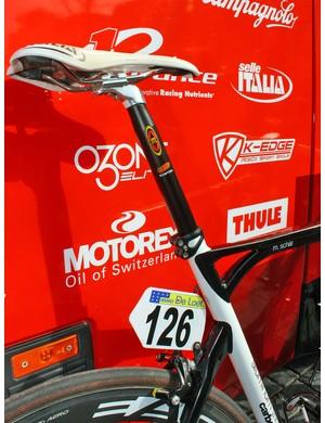 Michael Schär's (BMC) super-long legs dictate an aluminium seatpost