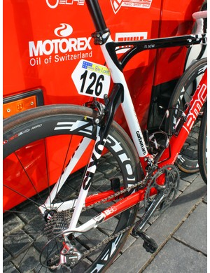 Likewise, the rear end of Michael Schär's (BMC) custom machine is all alloy unlike the stock SLX01, which has carbon seatstays