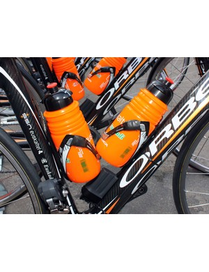 Electrical tape on the cages helps keep the bottles in place for Euskaltel-Euskadi