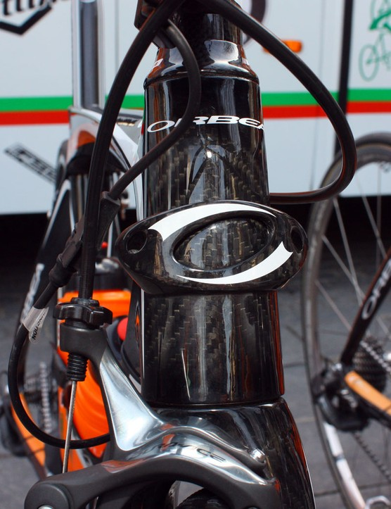 With all the bikes fitted with Shimano Dura-Ace Di2, the carbon fibre housing stop on the front of this Orbea Orca goes unused