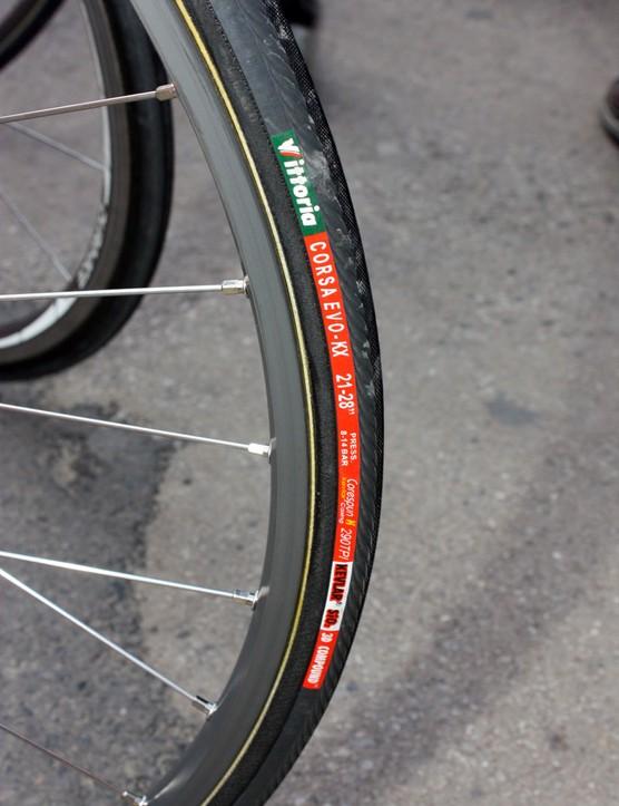 Scheldeprijs's lack of cobbles allowed Euskaltel-Euskadi riders to use these rather narrow tyres