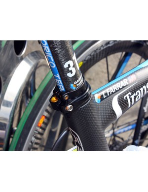 An additional clamp around the base of the seatpost helps prevent slipping