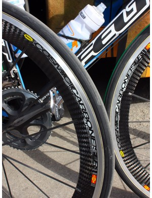 Garmin-Transitions riders set off from Antwerp on Mavic Cosmic Carbone SLR wheels in tubular form - which isn't available to the public