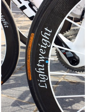 Milram's Focus machines were fitted with Lightweight wheels for Scheldeprijs but they're not likely to appear come Paris-Roubaix
