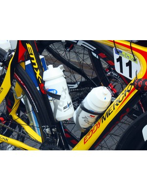 Tom Boonen's (Quick Step) Eddy Merckx frame is fitted with Tacx's new Uma bottle cage