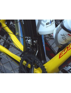 Tom Boonen's (Quick Step) bike sports a traditional-style chain watcher