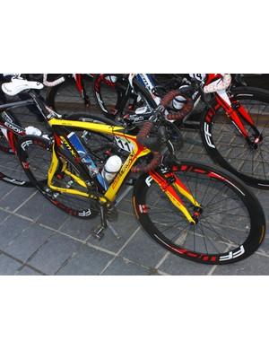 Eddy Merckx provided Belgian superstar Tom Boonen (Quick Step) with this custom painted machine for Scheldeprijs