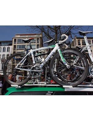 Jimmy Casper's (Saur-Sojasun) spare Gitane sits atop the team car at Scheldeprijs