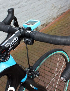 Flecha has mounted Shimano's new Di2 remote shifter to his bars for easier shifting while bouncing around on the pavé.