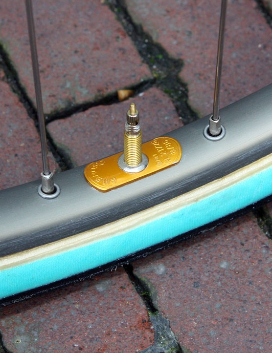 Regardless of what's on the label, this counterweight always identifies an Ambrosio rim.