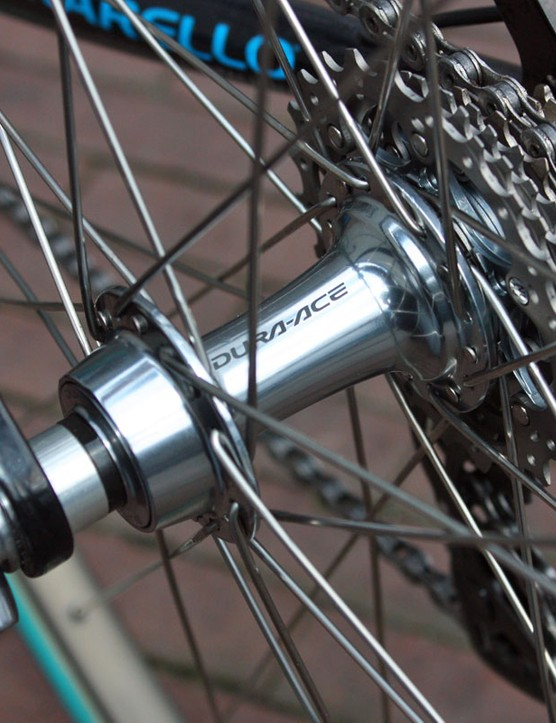The rear wheel uses Shimano's faster-engaging Dura-Ace 7950 internals.