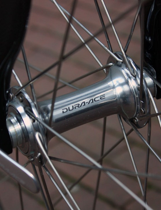 The front wheel is built around a previous-generation Shimano Dura-Ace hub.