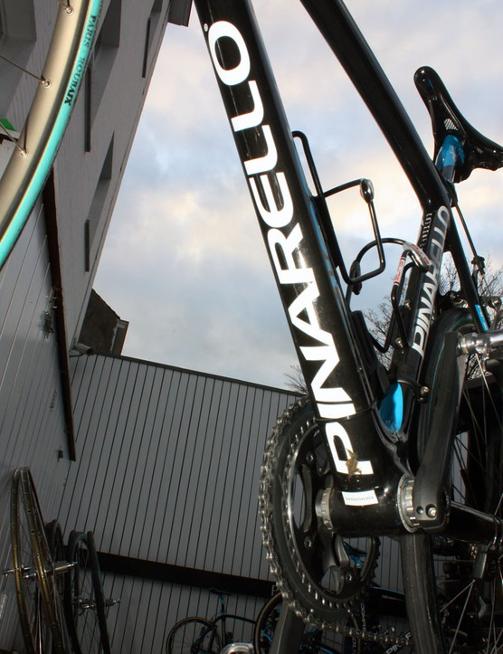 The healthy-sized down tube offers up lots of room for a big Pinarello logo.