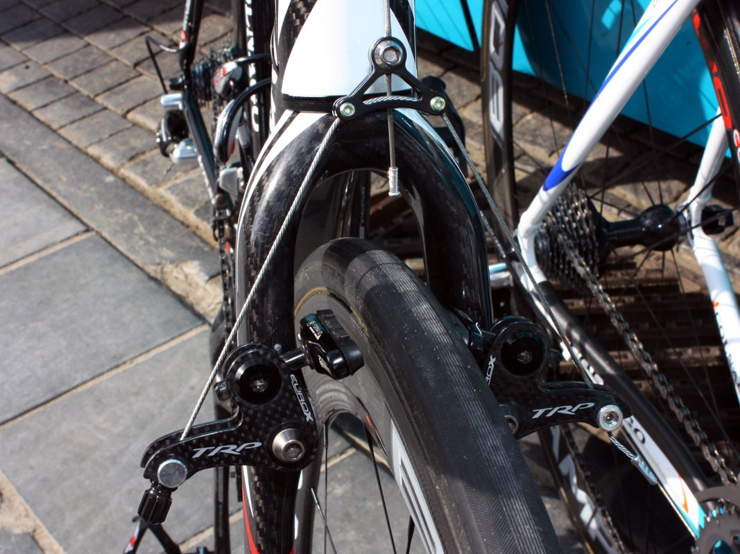 Since Bonnet's 'cross bike is intended for big knobbies, there's more than enough clearance for big road tubulars with room to spare.