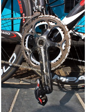 Bonnet's Campagnolo Record crankarms are fitted with Time's previous-generation RXS pedals.