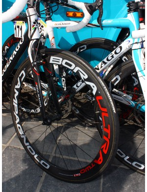 Bonnet used deep-section Campagnolo Bora Ultra carbon tubulars for the Scheldeprijs race just before Paris-Roubaix but won't use them on Sunday.