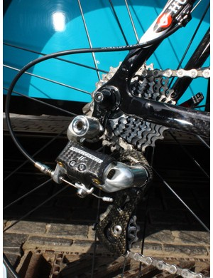 A standard Campagnolo Record rear derailleur will change gears across the tightly spaced cassette.