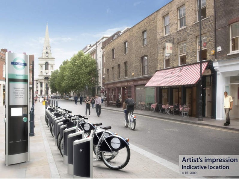 Artist's impression of a docking system from London's public bike hire scheme