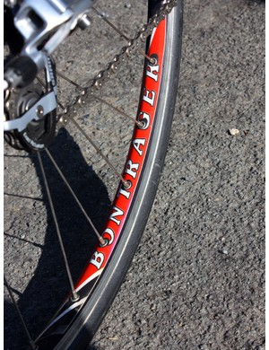 Team Radioshack's Bontrager wheels use box-section alloy tubular rims, double-butted J-bend spokes with brass nipples, and DT Swiss 240s hubs.