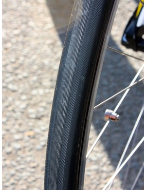 If conditions are dry, Team Radioshack will use these 26mm-wide Hutchinson tubulars.