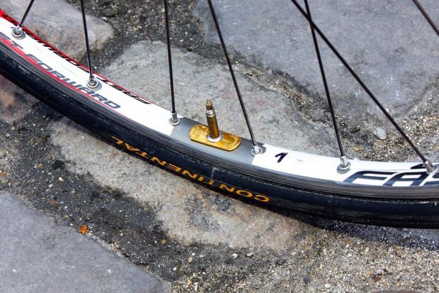 Tom Boonen (Quick Step) used Ambrosio Nemesis box-section aluminium tubular rims
