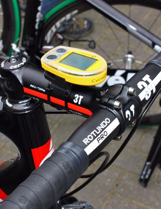 Hushovd ran aluminium cockpit components for his run at this year's Paris-Roubaix.  A CycleOps Cervo 2.4 computer provided speed, time and distance information.