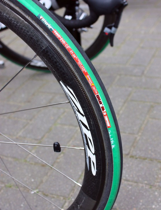 Hushovd ran balloon-like 27mm-wide Vittoria Pavé Evo-CG tubulars on Sunday.