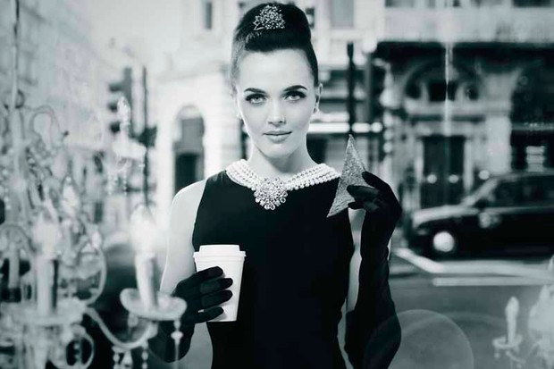Victoria Pendleton poses as Audrey Hepburn as part of a Breakfast at Tiffany's inspired ad campaign for Hovis's Wholemeal Breakfast Week
