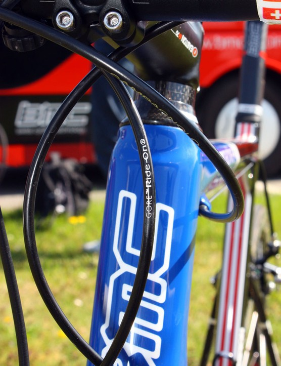 Team mechanics have fitted Hincapie's bike with a Gore Ride-On sealed derailleur cable set to preserve shifting performance during Paris-Roubaix.