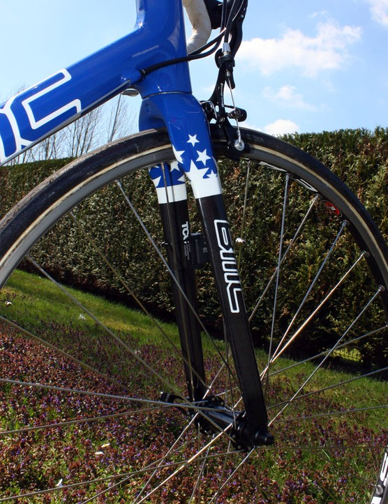 BMC says its Tuned Compliance Concept fork lends a smoother ride over rough terrain than standard designs.