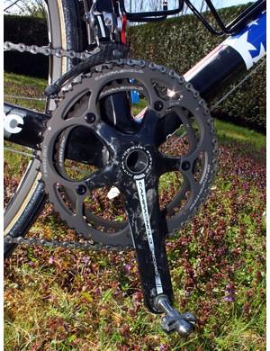 As is standard for Paris-Roubaix, Hincapie's Campagnolo Record crank wears 53/44T chainrings to better suit the flat parcours.