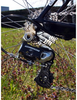 A standard Campagnolo Record rear derailleur is bolted to a replaceable hanger.
