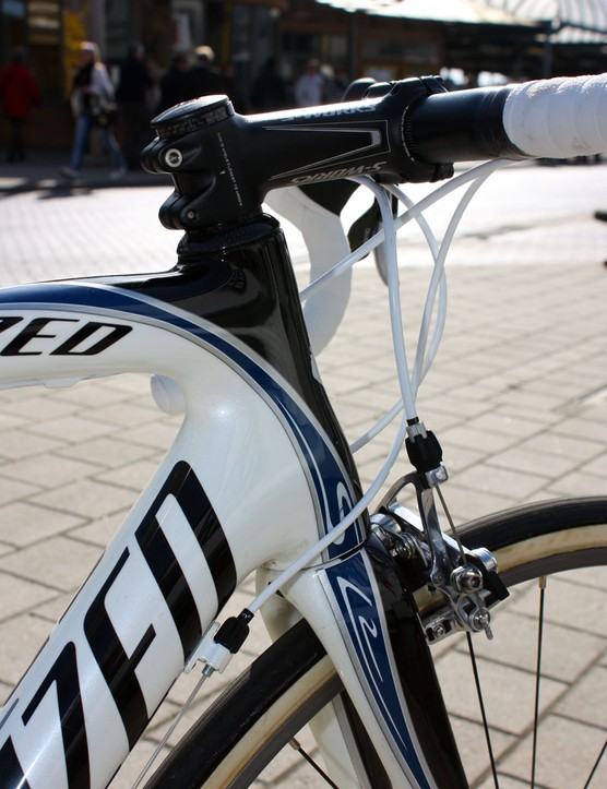 Breschel's 'Team Fit' Specialized S-Works Roubaix SL2 features a shorter head tube than standard production bikes.