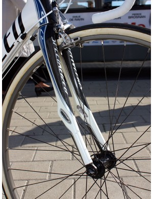 Zertz elastomeric inserts in the Roubaix SL2 fork are designed to squelch high-frequency vibration.