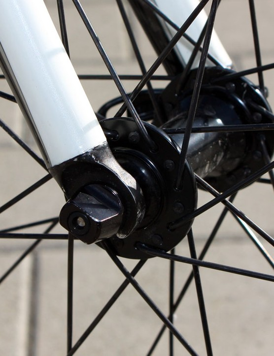 Alloy fork tips are bonded into longer-than-normal legs to provide 4mm more clearance than on consumer versions.