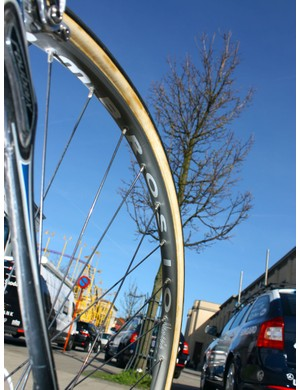 No surprises here: yet another set of Ambrosio rims on a Paris-Roubaix bike.