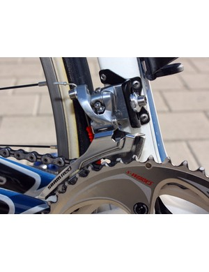 Like most pros, Breschel prefers the stiffer steel cage option on his SRAM Red front derailleur for faster shifting.