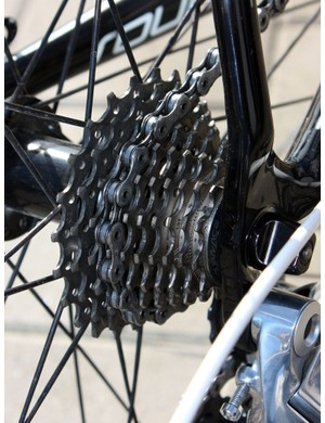 Fabian Cancellara's broken chain last year apparently still sits fresh in Breschel's mind as his Paris-Roubaix bike was fitted with a Shimano Dura-Ace chain and cassette.