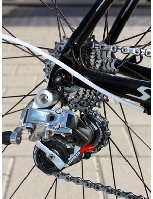 A Shimano Dura-Ace chain runs through a SRAM Red rear derailleur.