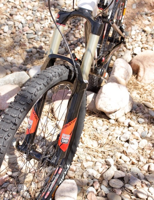Revelation with a X0 colour way; suspension is part of SRAM's intergration plan.