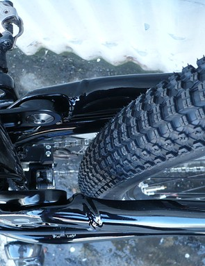 There is plenty of room for larger tyres. Our test bike had Kenda Small Block 8s on it