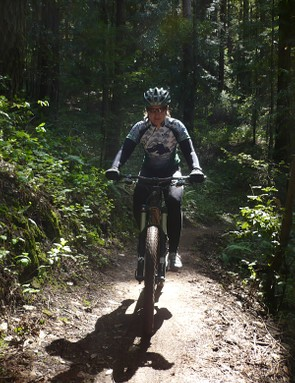 Sue George does the first ride on a new carbon Santa Cruz Nomad