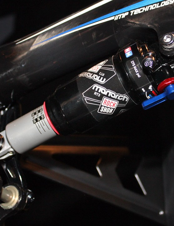 RockShox has made some revisions to its Monarch air shock platform for 2011, including a simpler angled air valve and a smaller range of motion on the rebound dial for easier setup.