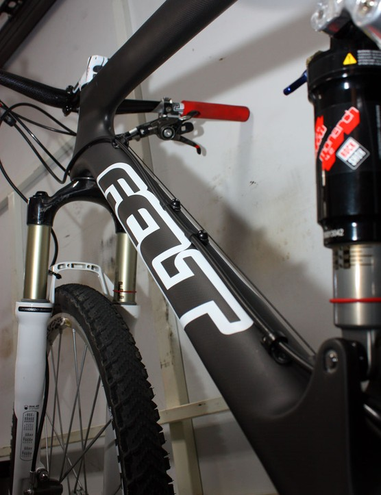 Felt takes advantage of the tapered head tube's extra real estate with a giant triangular-profile down tube.