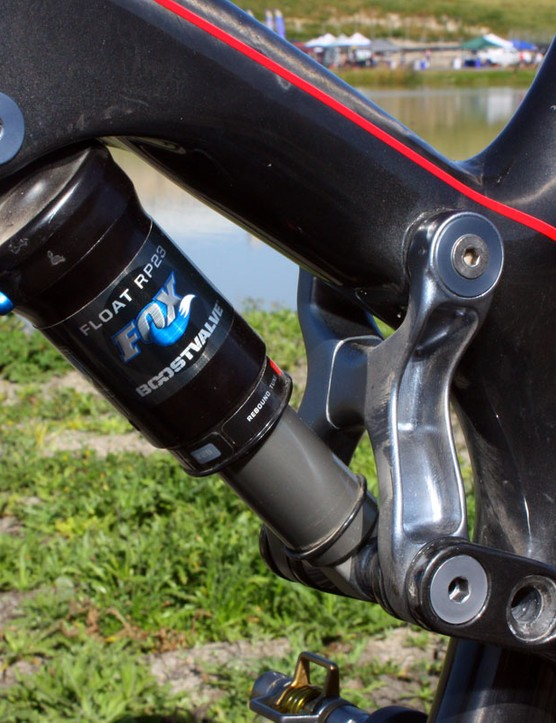 An aluminum linkage drives the Fox Racing Shox RP23 rear shock.