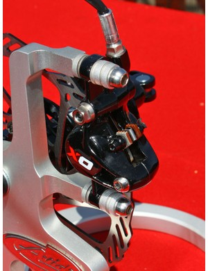 Reach adjustment on the new Avid X0 brake requires an Allen wrench but pad contact point is easily set without tools.